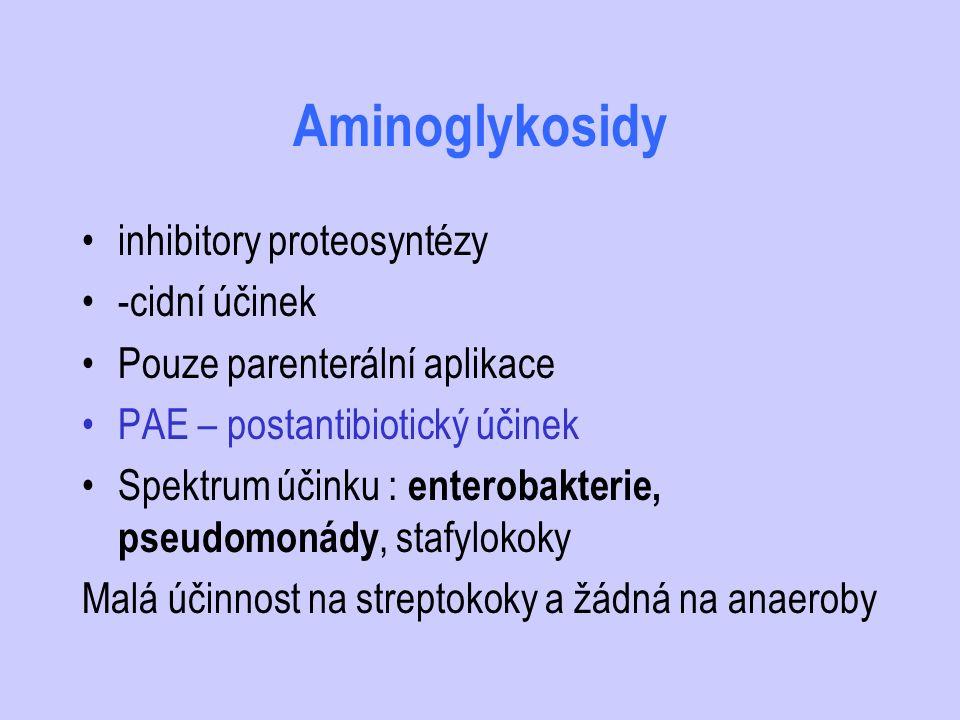Aminoglykosidy inhibitory proteosyntézy -cidní účinek Pouze parenterální aplikace PAE – postantibiotický účinek Spektrum účinku : enterobakterie, pseu