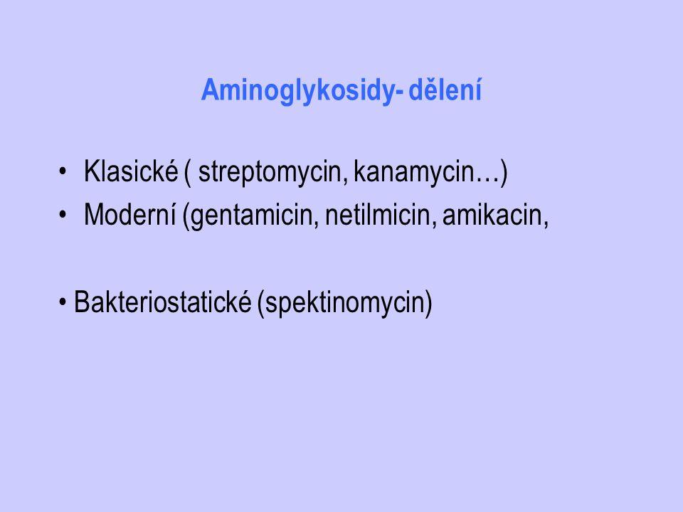 Aminoglykosidy- dělení Klasické ( streptomycin, kanamycin…) Moderní (gentamicin, netilmicin, amikacin, Bakteriostatické (spektinomycin)
