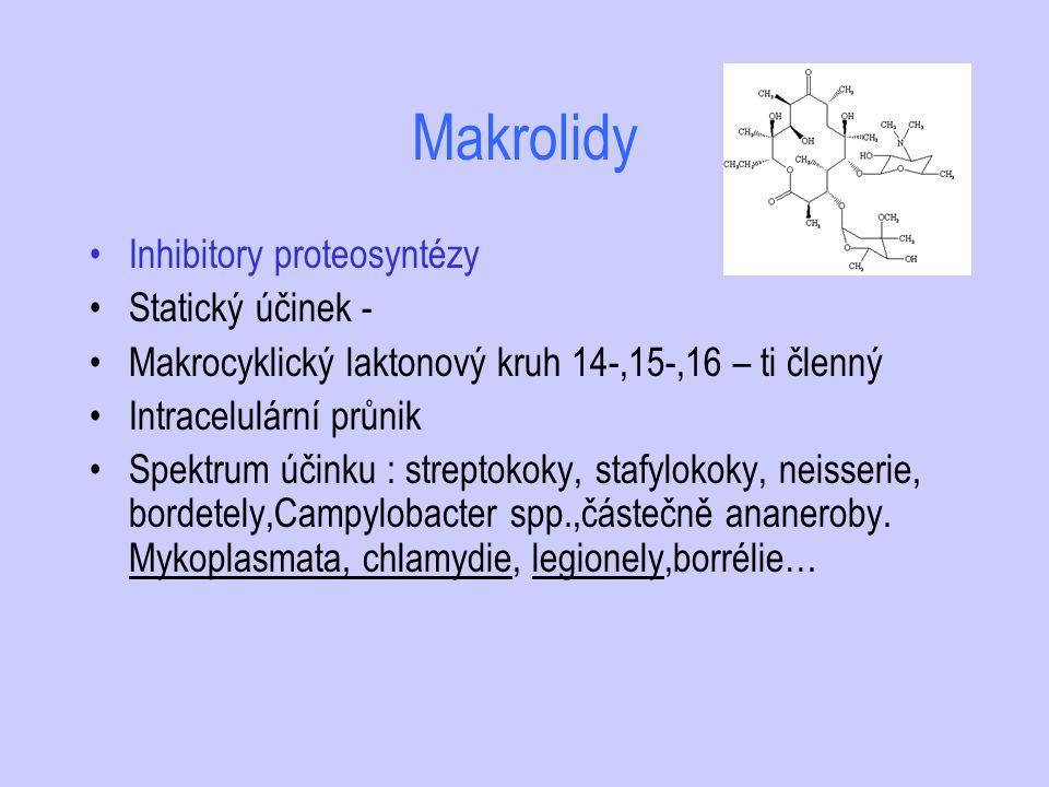 Makrolidy Inhibitory proteosyntézy Statický účinek - Makrocyklický laktonový kruh 14-,15-,16 – ti členný Intracelulární průnik Spektrum účinku : strep