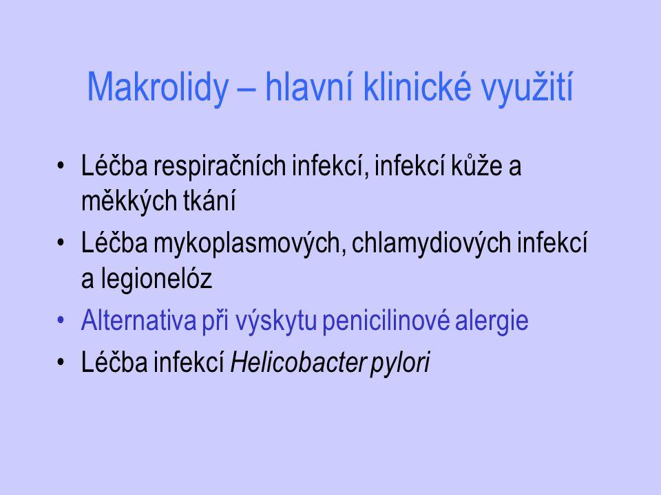 Makrolidy – hlavní klinické využití Léčba respiračních infekcí, infekcí kůže a měkkých tkání Léčba mykoplasmových, chlamydiových infekcí a legionelóz
