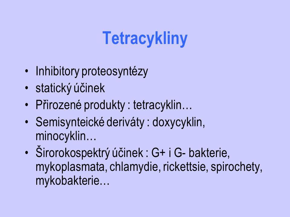 Tetracykliny Inhibitory proteosyntézy statický účinek Přirozené produkty : tetracyklin… Semisynteické deriváty : doxycyklin, minocyklin… Širorokospekt