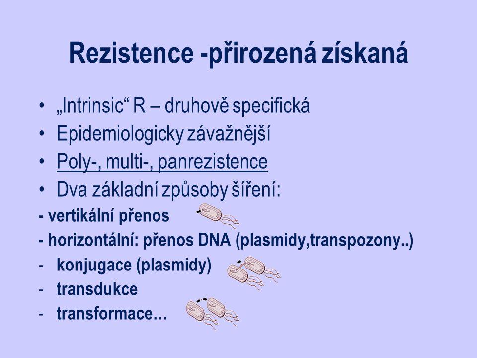 """Rezistence -přirozená získaná """"Intrinsic"""" R – druhově specifická Epidemiologicky závažnější Poly-, multi-, panrezistence Dva základní způsoby šíření:"""