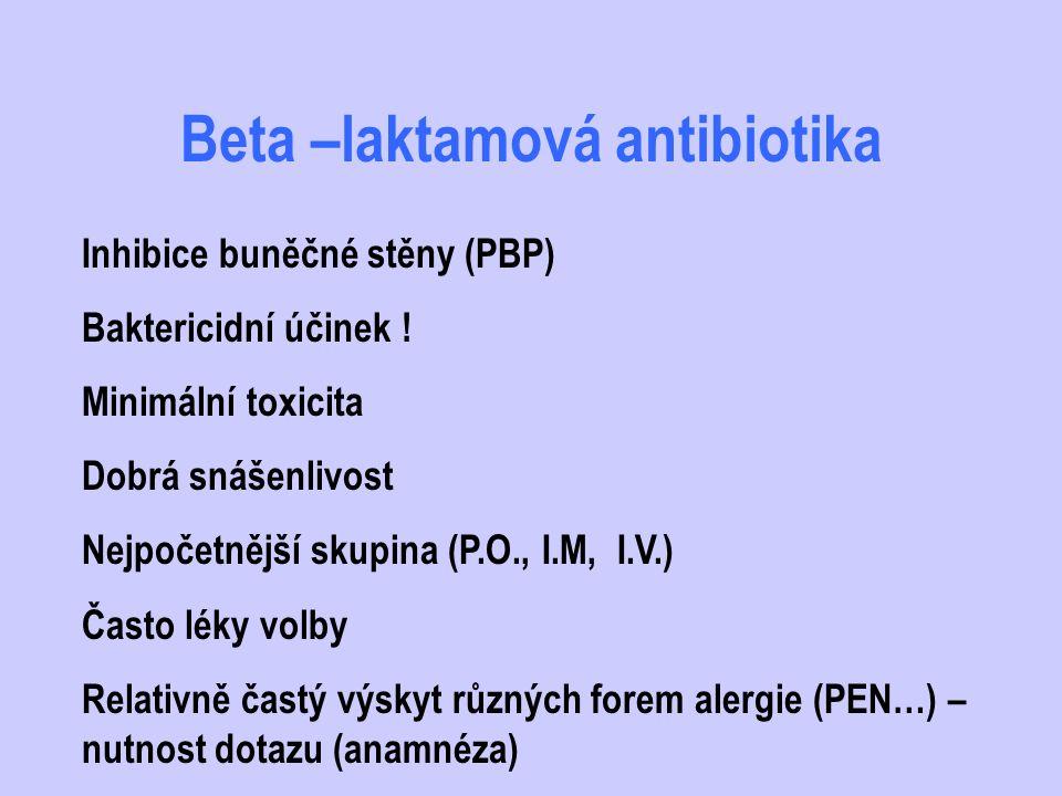 Makrolidy - dělení Přirozené : erytromycin, spiramycin… Semisyntetické deriváty : roxitromycin, klaritromycin, azitromycin (azalid)… -lepší snášenlivost, lepší farmakokinetické vlasnosti, spektrum obdobné (výjimka H.influenzae) Perorální i parenterální formy