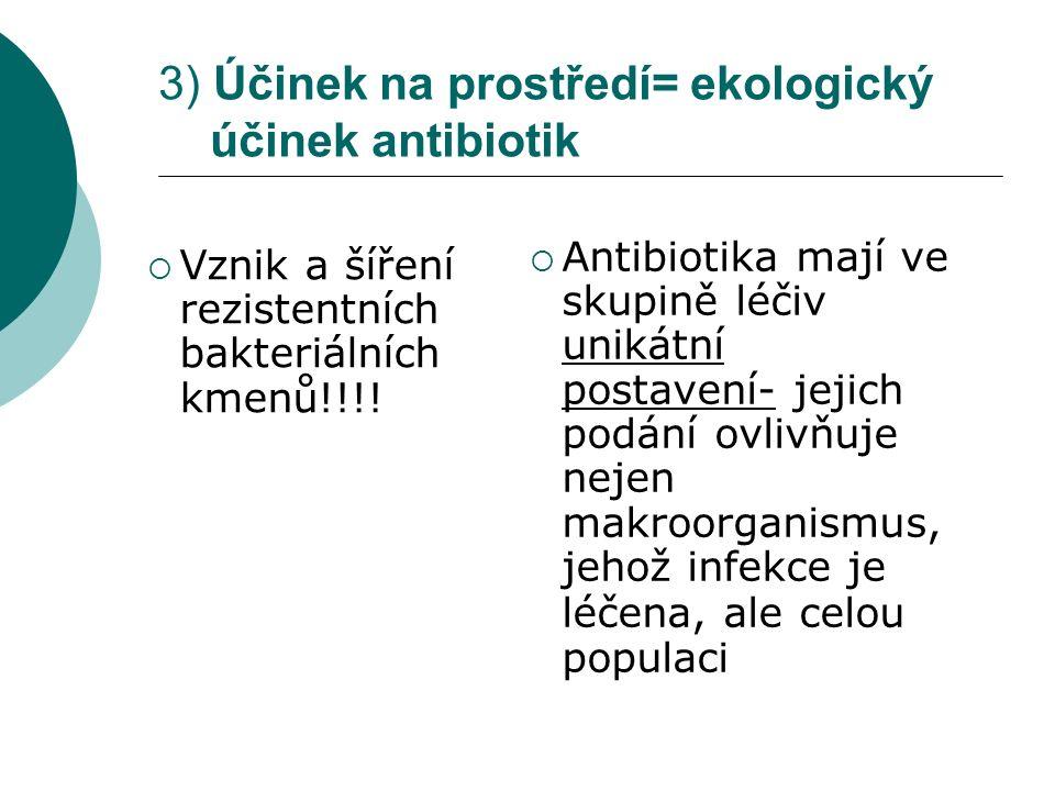 3) Účinek na prostředí= ekologický účinek antibiotik  Vznik a šíření rezistentních bakteriálních kmenů!!!!  Antibiotika mají ve skupině léčiv unikát