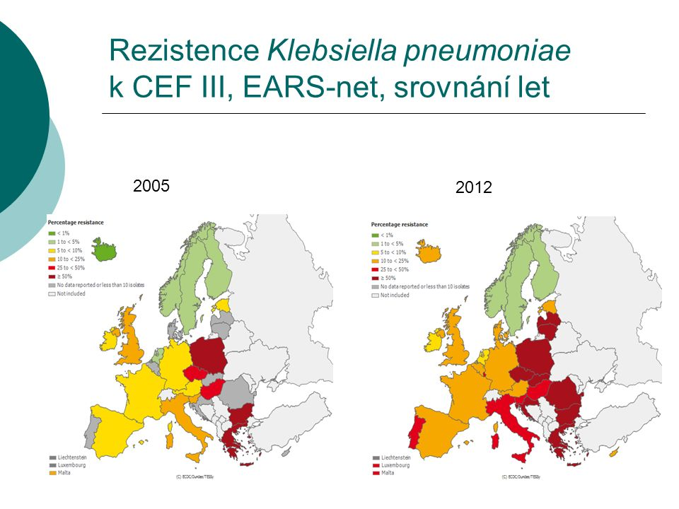 Rezistence Klebsiella pneumoniae k CEF III, EARS-net, srovnání let 2005 2012