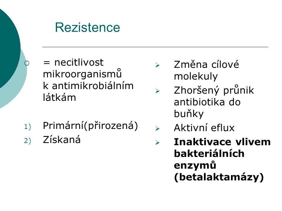 Rezistence  = necitlivost mikroorganismů k antimikrobiálním látkám 1) Primární(přirozená) 2) Získaná  Změna cílové molekuly  Zhoršený průnik antibi