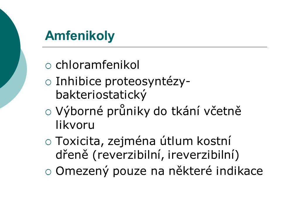 Amfenikoly  chloramfenikol  Inhibice proteosyntézy- bakteriostatický  Výborné průniky do tkání včetně likvoru  Toxicita, zejména útlum kostní dřen