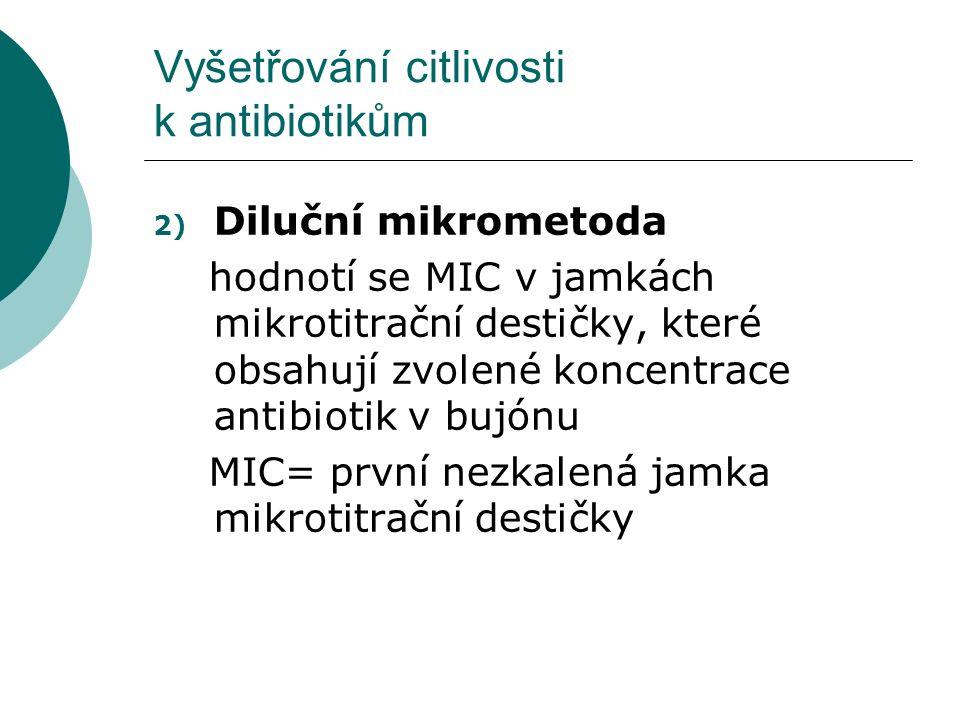 Vyšetřování citlivosti k antibiotikům 2) Diluční mikrometoda hodnotí se MIC v jamkách mikrotitrační destičky, které obsahují zvolené koncentrace antib