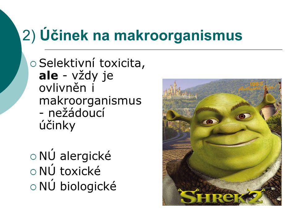 2) Účinek na makroorganismus  Selektivní toxicita, ale - vždy je ovlivněn i makroorganismus - nežádoucí účinky  NÚ alergické  NÚ toxické  NÚ biolo
