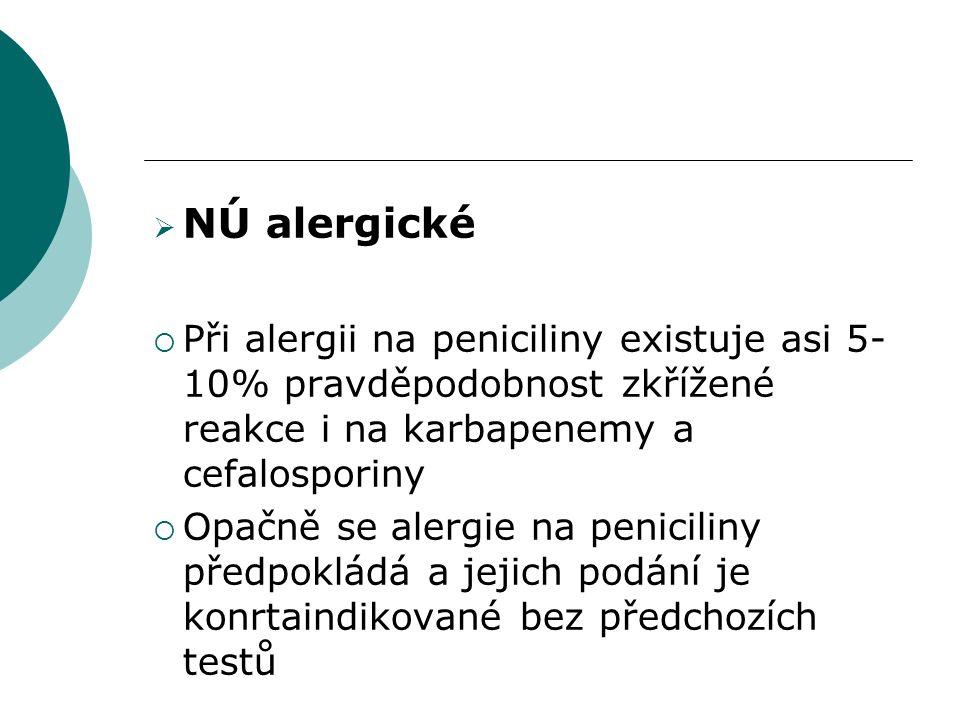  NÚ alergické  Při alergii na peniciliny existuje asi 5- 10% pravděpodobnost zkřížené reakce i na karbapenemy a cefalosporiny  Opačně se alergie na