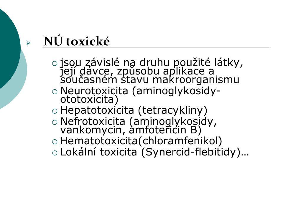  NÚ toxické  jsou závislé na druhu použité látky, její dávce, způsobu aplikace a současném stavu makroorganismu  Neurotoxicita (aminoglykosidy- oto
