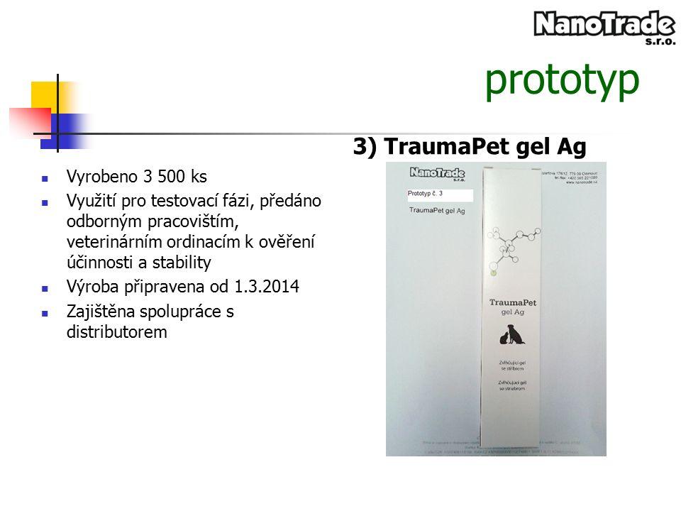 prototyp 3) TraumaPet gel Ag Vyrobeno 3 500 ks Využití pro testovací fázi, předáno odborným pracovištím, veterinárním ordinacím k ověření účinnosti a stability Výroba připravena od 1.3.2014 Zajištěna spolupráce s distributorem