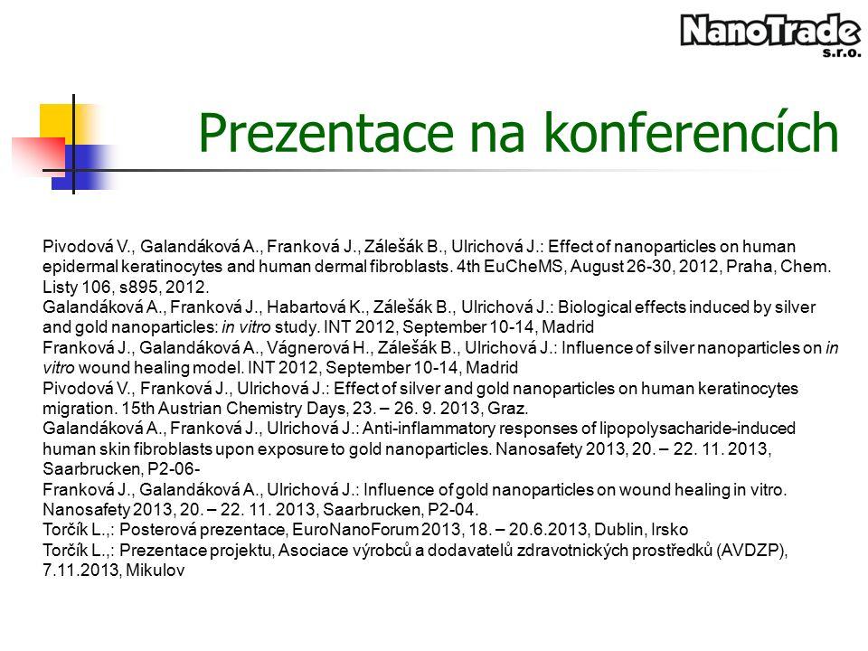 Prezentace na konferencích Pivodov á V., Galand á kov á A., Frankov á J., Z á le šá k B., Ulrichov á J.: Effect of nanoparticles on human epidermal keratinocytes and human dermal fibroblasts.
