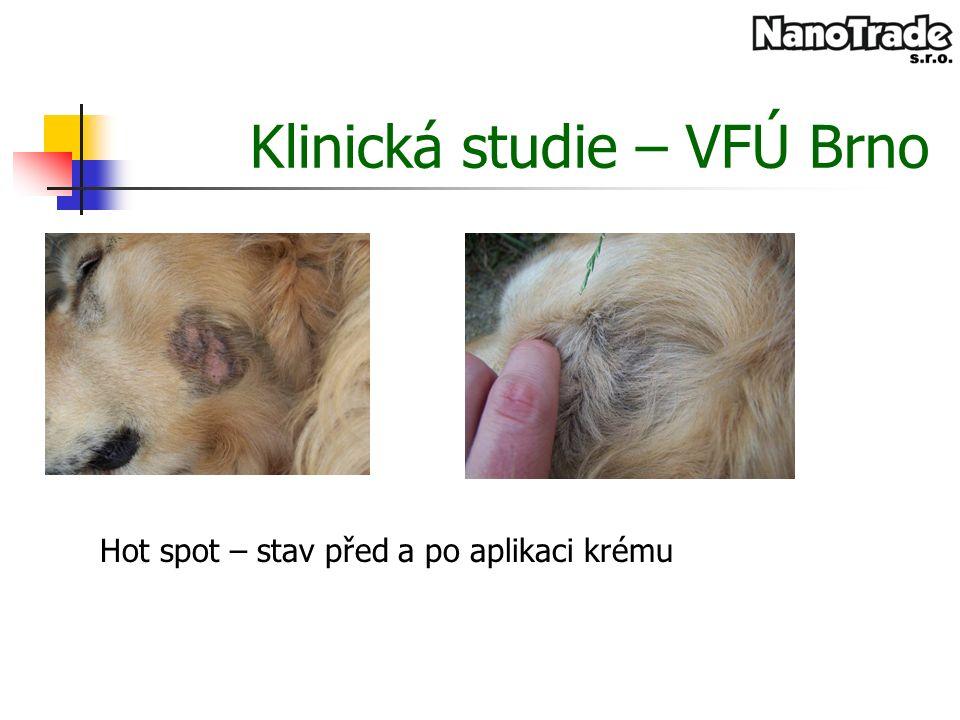 Klinická studie – VFÚ Brno Hot spot – stav před a po aplikaci krému
