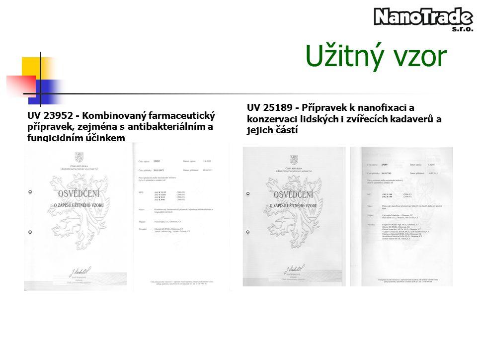 Užitný vzor UV 23952 - Kombinovaný farmaceutický přípravek, zejména s antibakteriálním a fungicidním účinkem UV 25189 - Přípravek k nanofixaci a konzervaci lidských i zvířecích kadaverů a jejich částí