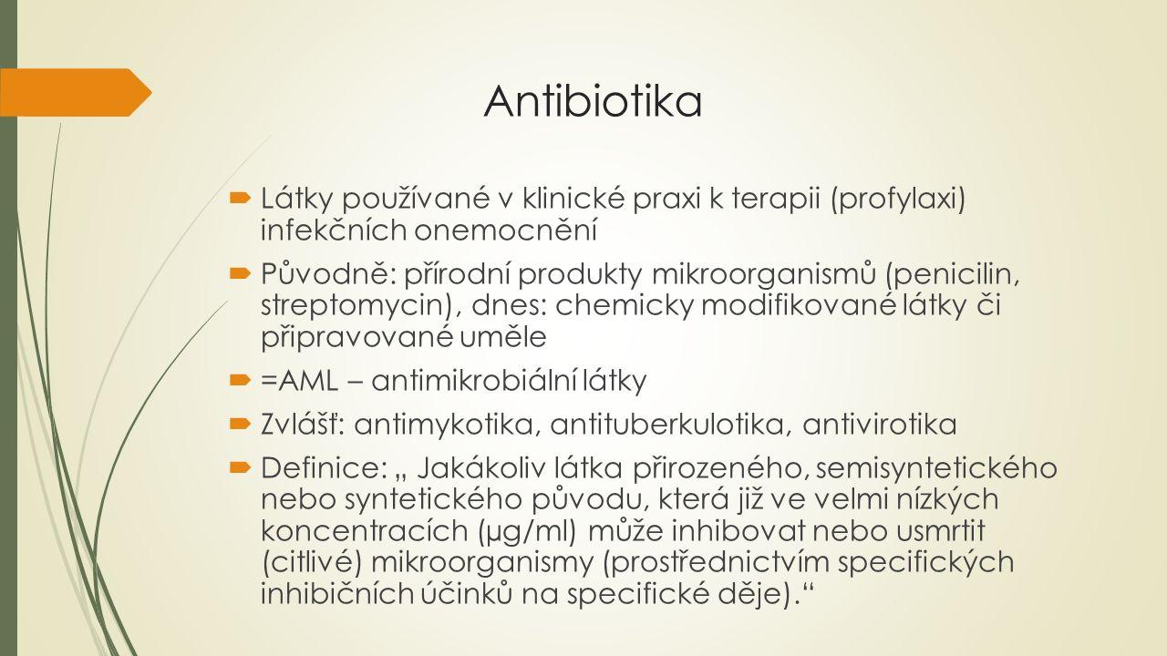 """Antibiotika  Látky používané v klinické praxi k terapii (profylaxi) infekčních onemocnění  Původně: přírodní produkty mikroorganismů (penicilin, streptomycin), dnes: chemicky modifikované látky či připravované uměle  =AML – antimikrobiální látky  Zvlášť: antimykotika, antituberkulotika, antivirotika  Definice: """" Jakákoliv látka přirozeného, semisyntetického nebo syntetického původu, která již ve velmi nízkých koncentracích (µg/ml) může inhibovat nebo usmrtit (citlivé) mikroorganismy (prostřednictvím specifických inhibičních účinků na specifické děje)."""