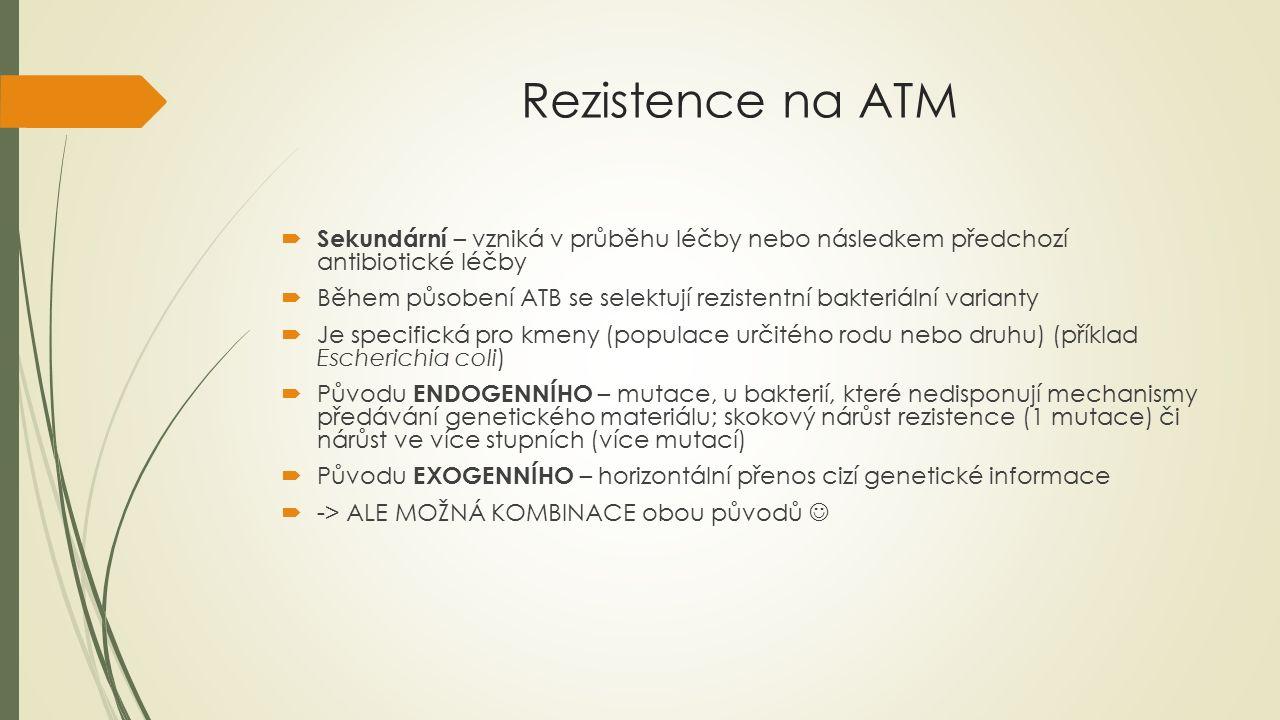 Rezistence na ATM  4 základní mechanismy :  Změna cílové struktury  Impermeabilita  Enzymatická inaktivace ATB  Hyperprodukce cílové struktury