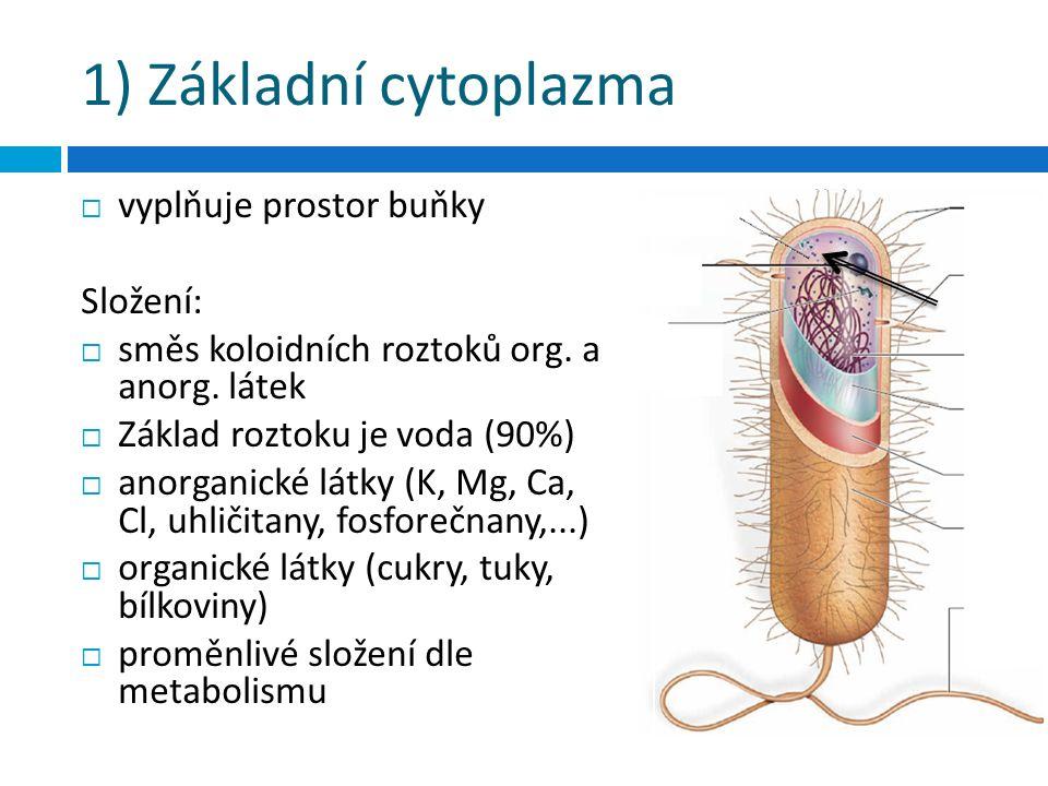 1) Základní cytoplazma  vyplňuje prostor buňky Složení:  směs koloidních roztoků org. a anorg. látek  Základ roztoku je voda (90%)  anorganické lá