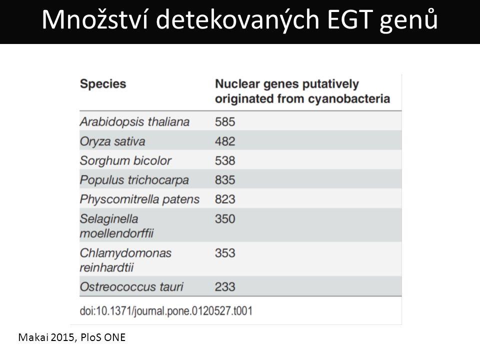Množství detekovaných EGT genů Makai 2015, PloS ONE