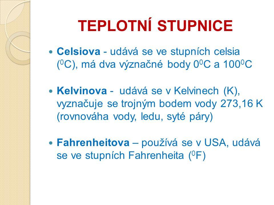 TEPLOTNÍ STUPNICE Celsiova - udává se ve stupních celsia ( 0 C), má dva význačné body 0 0 C a 100 0 C Kelvinova - udává se v Kelvinech (K), vyznačuje se trojným bodem vody 273,16 K (rovnováha vody, ledu, syté páry) Fahrenheitova – používá se v USA, udává se ve stupních Fahrenheita ( 0 F)
