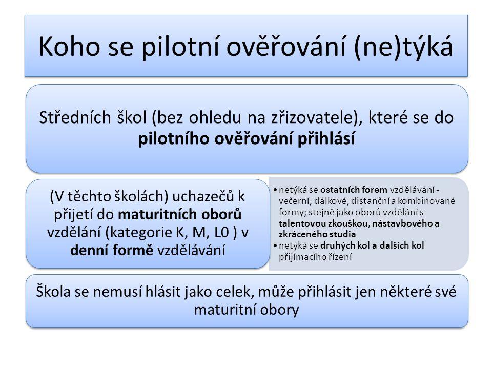 Koho se pilotní ověřování (ne)týká Středních škol (bez ohledu na zřizovatele), které se do pilotního ověřování přihlásí netýká se ostatních forem vzdělávání - večerní, dálkové, distanční a kombinované formy; stejně jako oborů vzdělání s talentovou zkouškou, nástavbového a zkráceného studia netýká se druhých kol a dalších kol přijímacího řízení (V těchto školách) uchazečů k přijetí do maturitních oborů vzdělání (kategorie K, M, L0 ) v denní formě vzdělávání Škola se nemusí hlásit jako celek, může přihlásit jen některé své maturitní obory