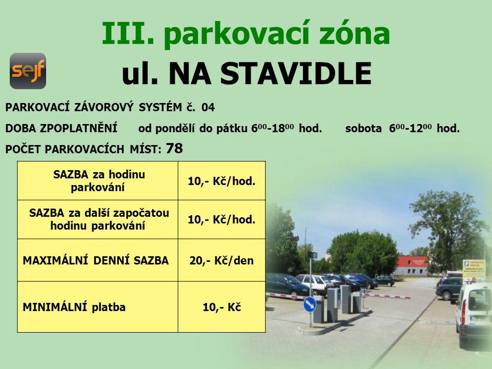 ul.NA STAVIDLE DOBA ZPOPLATNĚNÍ od pondělí do pátku 6 00 -18 00 hod.
