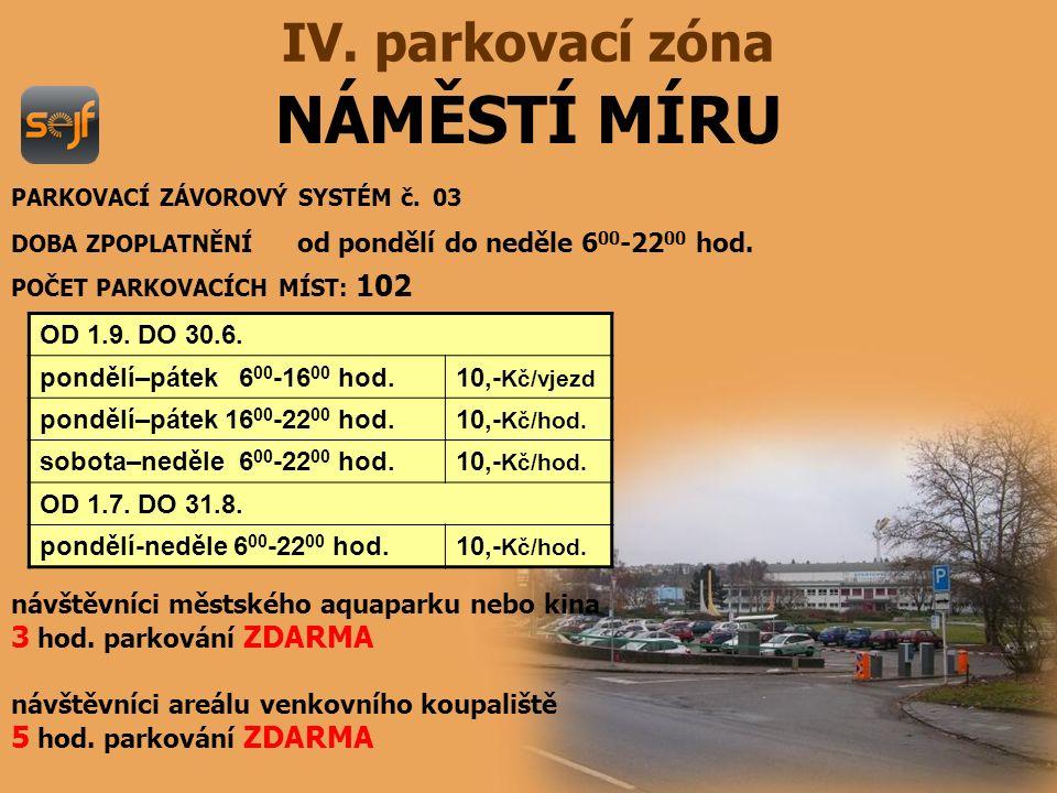 NÁMĚSTÍ MÍRU IV.parkovací zóna PARKOVACÍ ZÁVOROVÝ SYSTÉM č.