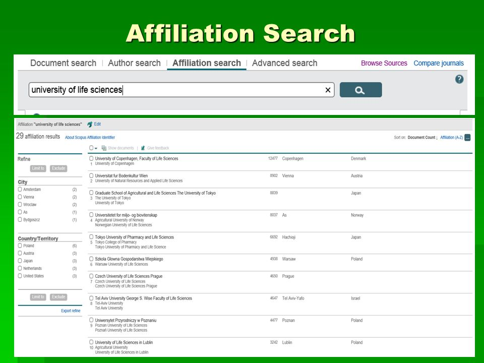 Affiliation Search