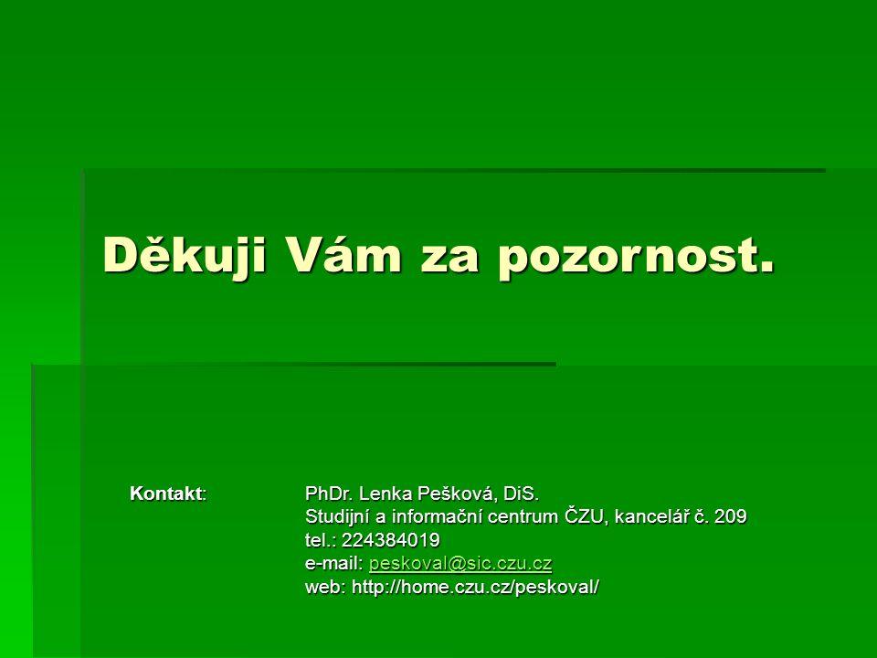 Děkuji Vám za pozornost. Kontakt:PhDr. Lenka Pešková, DiS.