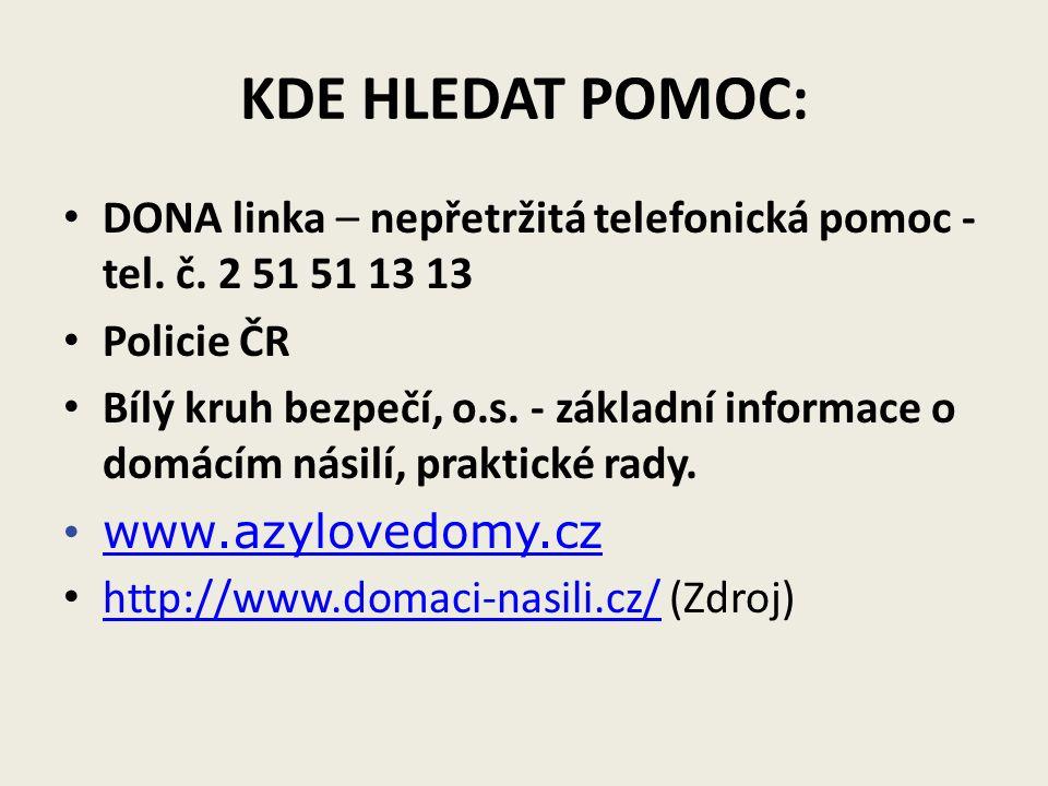 KDE HLEDAT POMOC: DONA linka – nepřetržitá telefonická pomoc - tel.