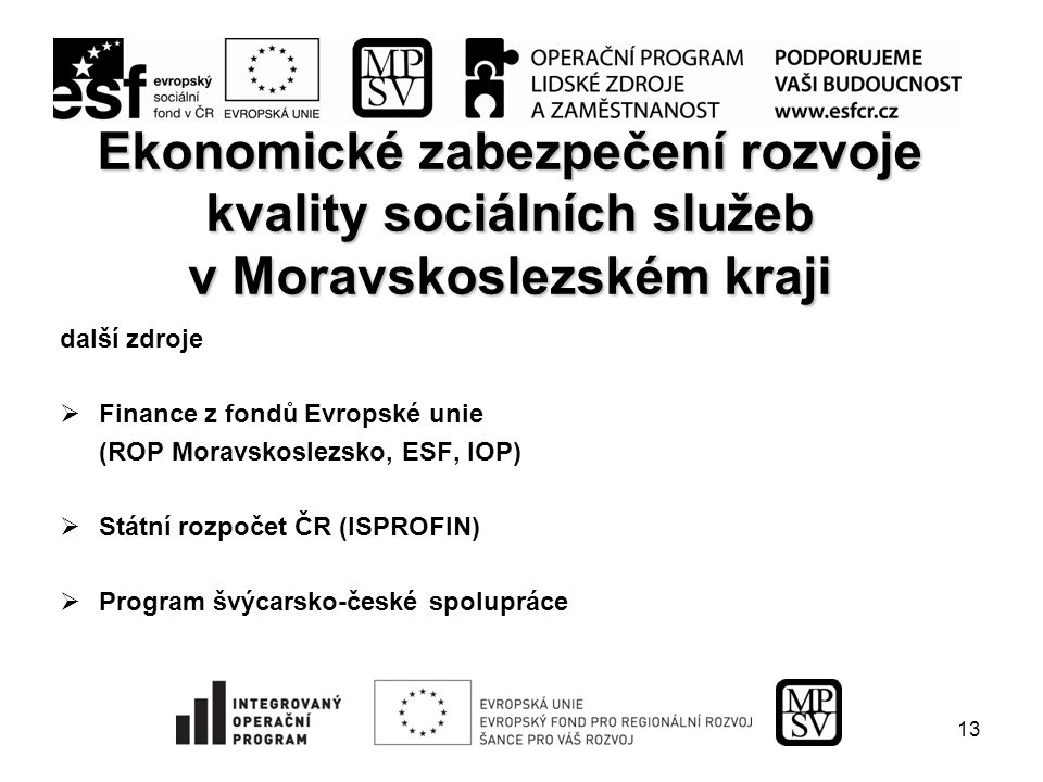 13 Ekonomické zabezpečení rozvoje kvality sociálních služeb v Moravskoslezském kraji další zdroje  Finance z fondů Evropské unie (ROP Moravskoslezsko, ESF, IOP)  Státní rozpočet ČR (ISPROFIN)  Program švýcarsko-české spolupráce