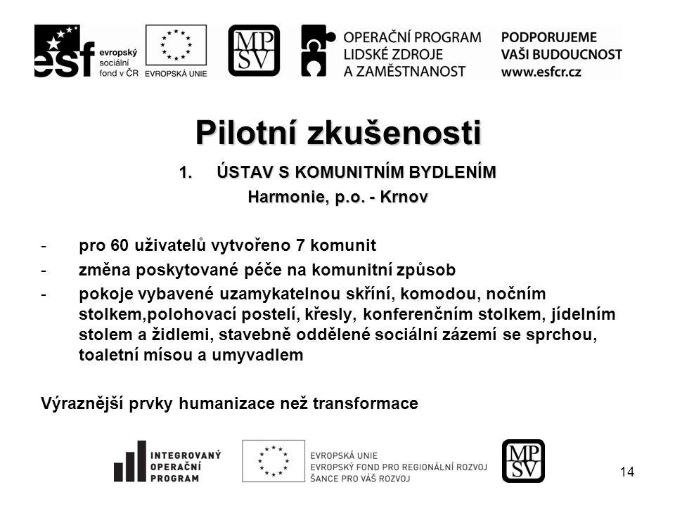 14 Pilotní zkušenosti 1.ÚSTAV S KOMUNITNÍM BYDLENÍM Harmonie, p.o.