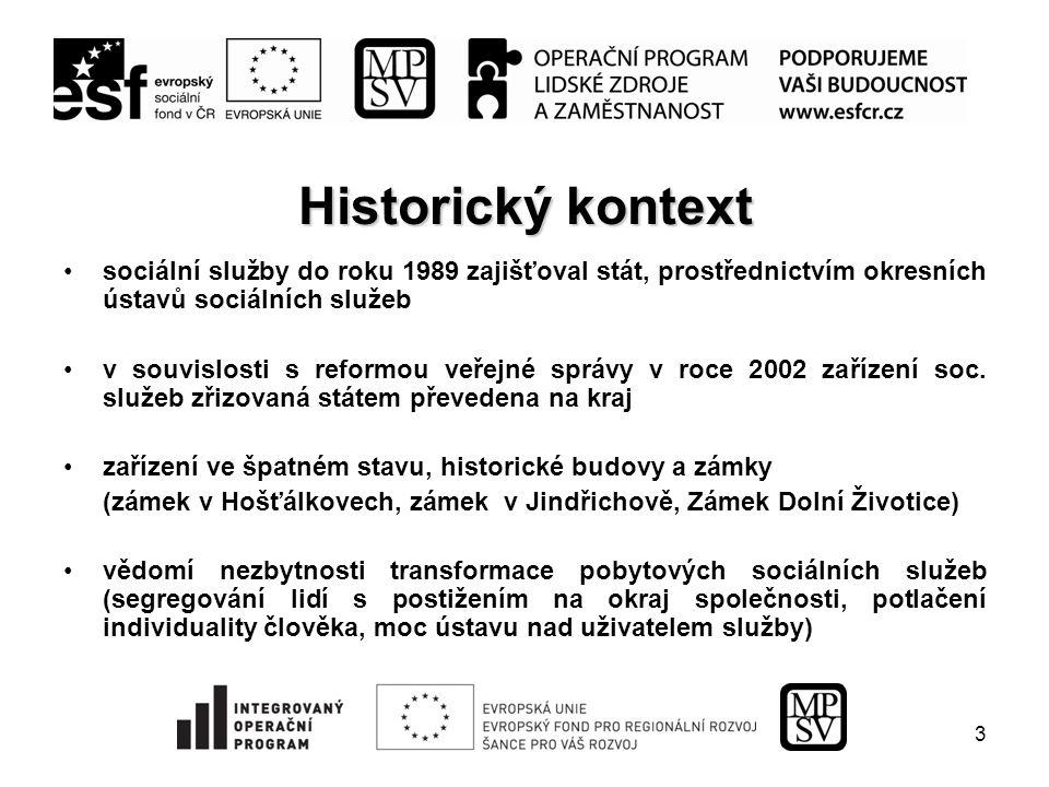 3 Historický kontext sociální služby do roku 1989 zajišťoval stát, prostřednictvím okresních ústavů sociálních služeb v souvislosti s reformou veřejné správy v roce 2002 zařízení soc.