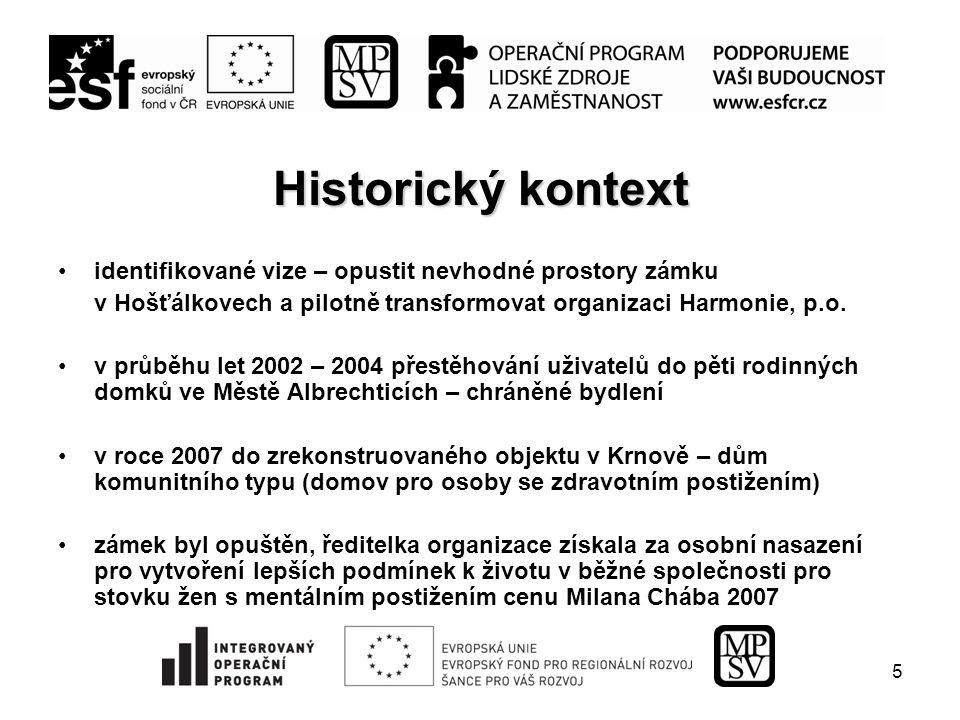 5 Historický kontext identifikované vize – opustit nevhodné prostory zámku v Hošťálkovech a pilotně transformovat organizaci Harmonie, p.o.