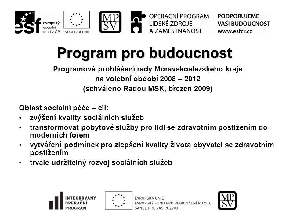 10 Programové dokumenty Moravskoslezského kraje k rozvoji sociálních služeb v kraji a)Současnost  Koncepce kvality sociálních služeb v MSK (včetně transformace pobytových sociálních služeb); schváleno ZMSK červen 2008  1.