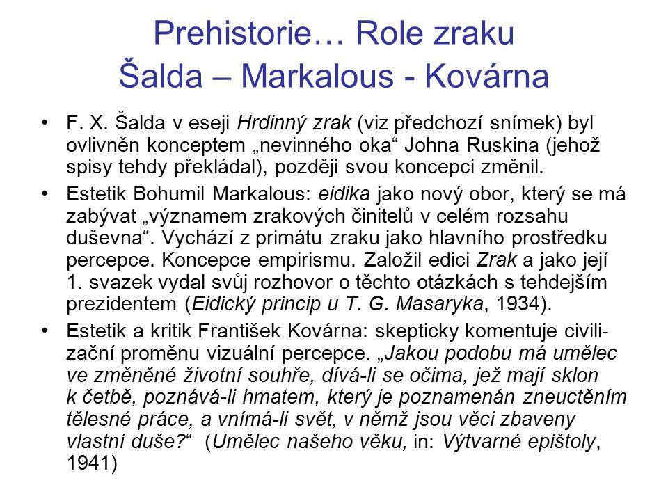 Prehistorie… Role zraku Šalda – Markalous - Kovárna F.