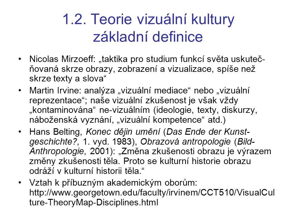 """1.2. Teorie vizuální kultury základní definice Nicolas Mirzoeff: """"taktika pro studium funkcí světa uskuteč- ňovaná skrze obrazy, zobrazení a vizualiza"""