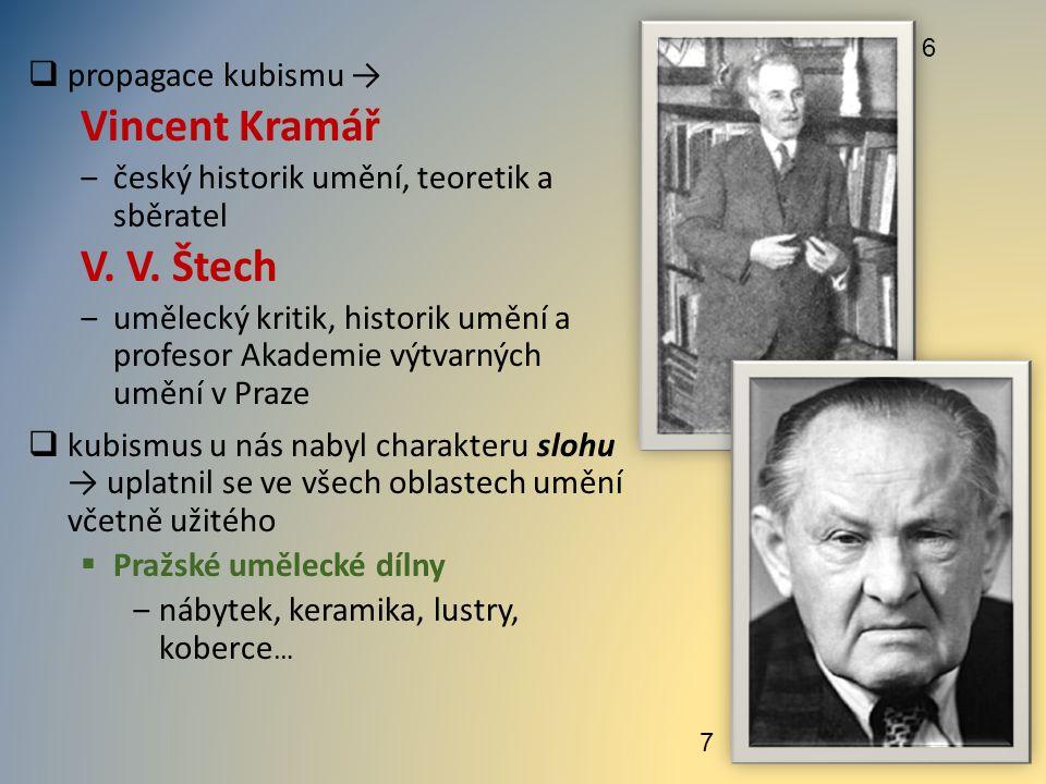  propagace kubismu → Vincent Kramář ‒český historik umění, teoretik a sběratel V. V. Štech ‒umělecký kritik, historik umění a profesor Akademie výtva