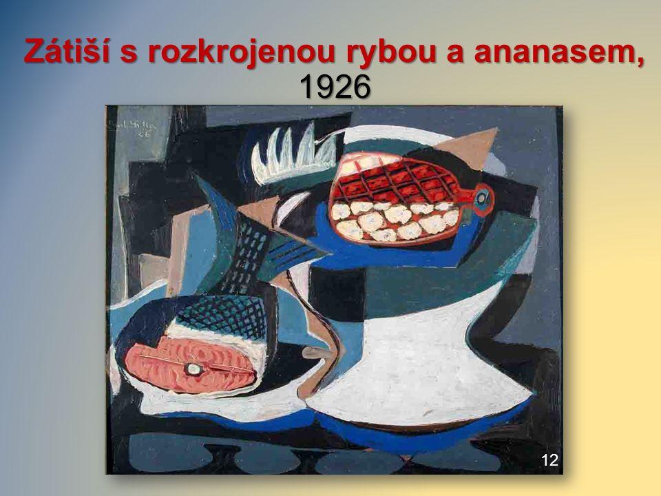Zátiší s rozkrojenou rybou a ananasem, 1926 12