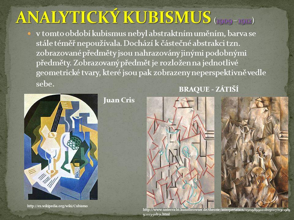 v tomto období kubismus nebyl abstraktním uměním, barva se stále téměř nepoužívala.