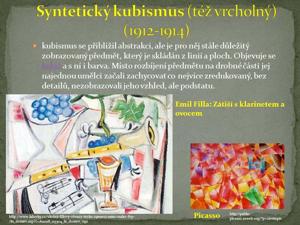 kubismus se přiblížil abstrakci, ale je pro něj stále důležitý zobrazovaný předmět, který je skládán z linií a ploch.
