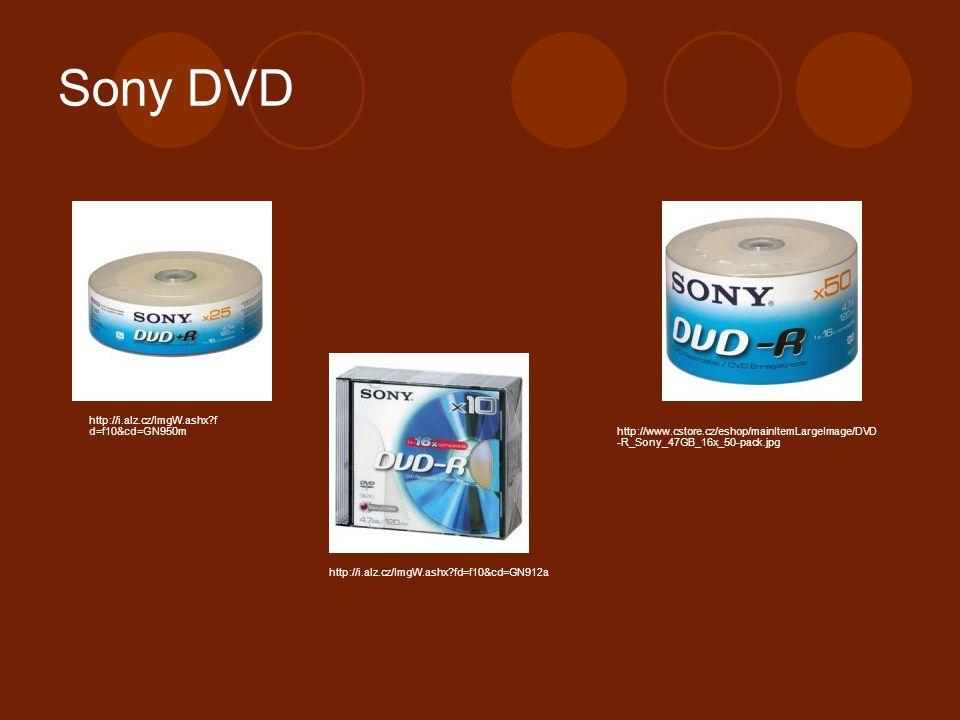 Sony DVD http://www.cstore.cz/eshop/mainItemLargeImage/DVD -R_Sony_47GB_16x_50-pack.jpg http://i.alz.cz/ImgW.ashx f d=f10&cd=GN950m http://i.alz.cz/ImgW.ashx fd=f10&cd=GN912a