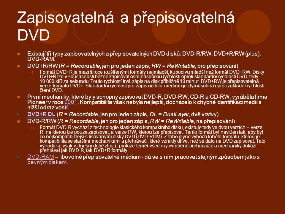 Zapisovatelná a přepisovatelná DVD Existují tři typy zapisovatelných a přepisovatelných DVD disků: DVD-R/RW, DVD+R/RW (plus), DVD-RAM.