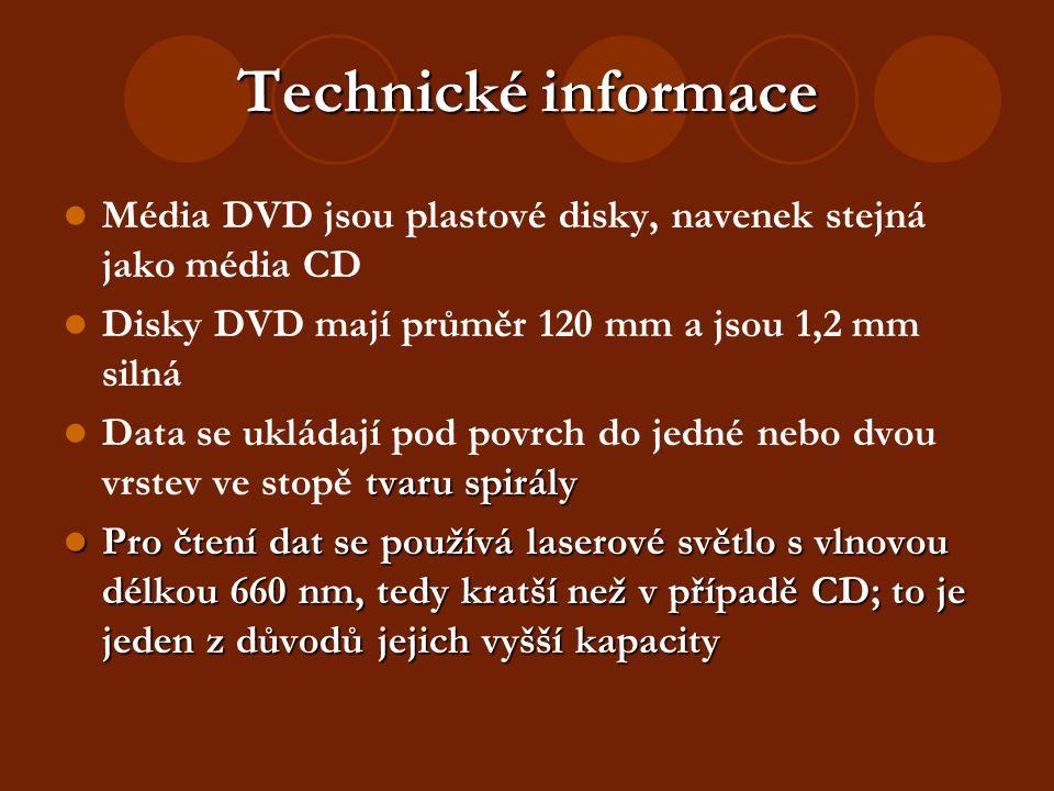 Technické informace Média DVD jsou plastové disky, navenek stejná jako média CD Disky DVD mají průměr 120 mm a jsou 1,2 mm silná tvaru spirály Data se ukládají pod povrch do jedné nebo dvou vrstev ve stopě tvaru spirály Pro čtení dat se používá laserové světlo s vlnovou délkou 660 nm, tedy kratší než v případě CD; to je jeden z důvodů jejich vyšší kapacity Pro čtení dat se používá laserové světlo s vlnovou délkou 660 nm, tedy kratší než v případě CD; to je jeden z důvodů jejich vyšší kapacity