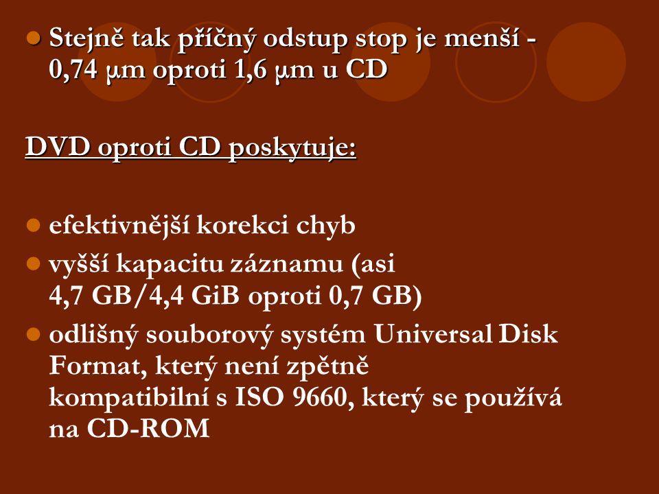 Stejně tak příčný odstup stop je menší - 0,74 μm oproti 1,6 μm u CD Stejně tak příčný odstup stop je menší - 0,74 μm oproti 1,6 μm u CD DVD oproti CD poskytuje: efektivnější korekci chyb vyšší kapacitu záznamu (asi 4,7 GB/4,4 GiB oproti 0,7 GB)  odlišný souborový systém Universal Disk Format, který není zpětně kompatibilní s ISO 9660, který se používá na CD-ROM
