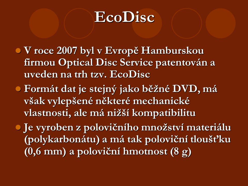 EcoDisc V roce 2007 byl v Evropě Hamburskou firmou Optical Disc Service patentován a uveden na trh tzv.
