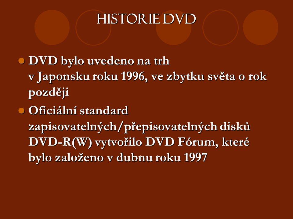 Historie DVD DVD bylo uvedeno na trh v Japonsku roku 1996, ve zbytku světa o rok později DVD bylo uvedeno na trh v Japonsku roku 1996, ve zbytku světa o rok později Oficiální standard zapisovatelných/přepisovatelných disků DVD-R(W) vytvořilo DVD Fórum, které bylo založeno v dubnu roku 1997 Oficiální standard zapisovatelných/přepisovatelných disků DVD-R(W) vytvořilo DVD Fórum, které bylo založeno v dubnu roku 1997