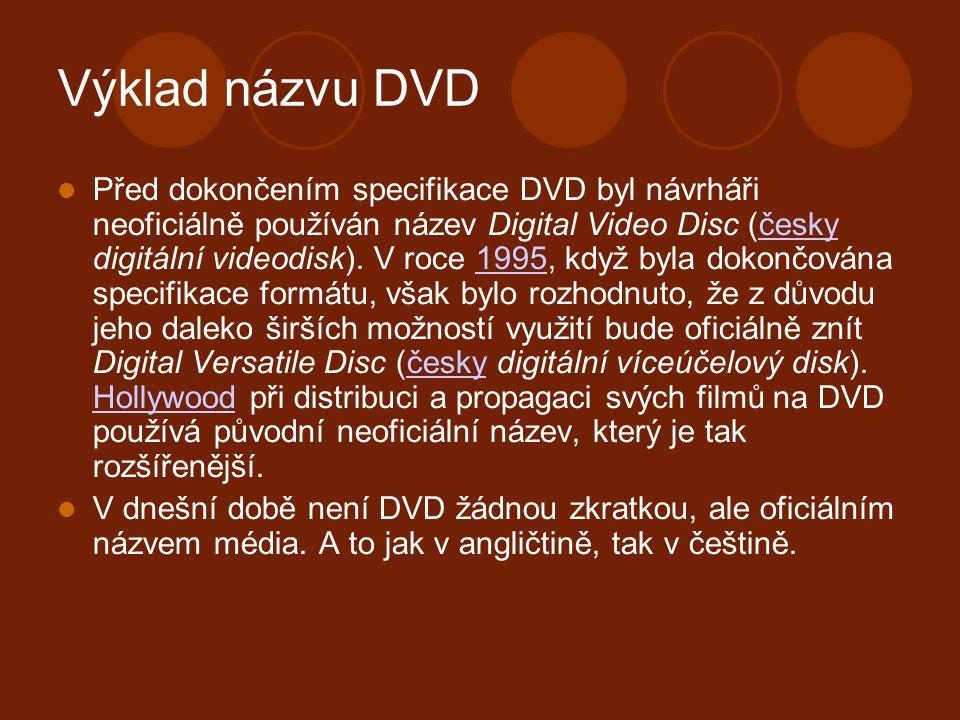 Výklad názvu DVD Před dokončením specifikace DVD byl návrháři neoficiálně používán název Digital Video Disc (česky digitální videodisk).