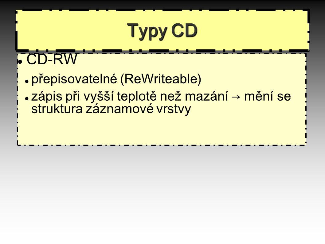Typy CD CD-RW přepisovatelné (ReWriteable)  zápis při vyšší teplotě než mazání → mění se struktura záznamové vrstvy