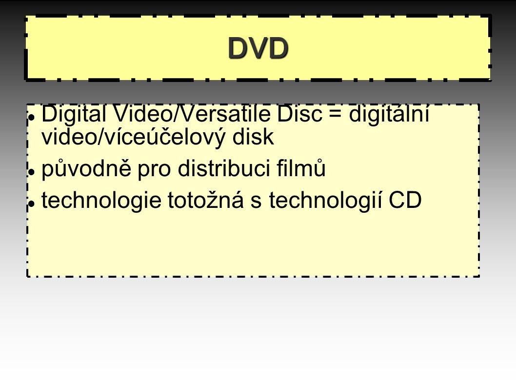 DVD Digital Video/Versatile Disc = digitální video/víceúčelový disk původně pro distribuci filmů technologie totožná s technologií CD